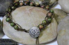 Celtic Knot Bracelet Unakite Quaternary Knot by OHineKnotwork
