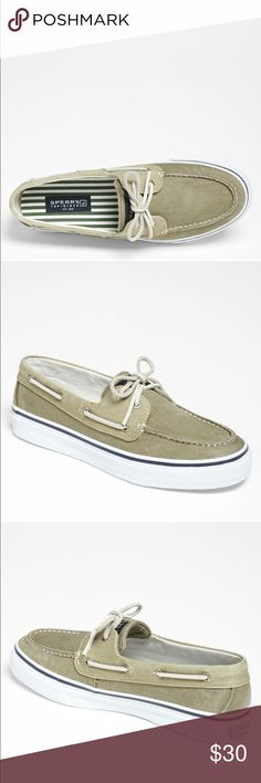 Sperry Bahama Boat Shoe The perfect neutral khaki - my go-to back in my college days, when I wanted to feel comfortable and put-together 🐱 Good, used condition - lots of life left! Sperry Top-Sider Shoes