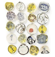 works by South African artist Ruan Hoffmann, who works with graphics and lettering on clay http://www.ruanhoffmann.com/ #ceramics #art #plates