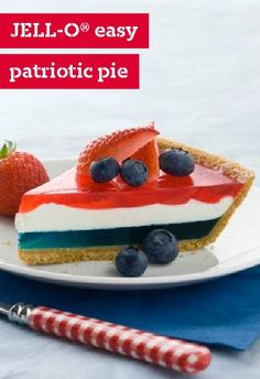 JELL-O Easy Patriotic Pie – Looking for something other than the ol' strawberries and blueberries on pound cake for the of July holiday? Check out our easy layered pie recipe that features JELL-O and COOL WHIP for a new take on patriotic desserts. Patriotic Pie Recipe, Patriotic Desserts, 4th Of July Desserts, Köstliche Desserts, Delicious Desserts, Dessert Recipes, Patriotic Party, Patriotic Decorations, Dessert Food