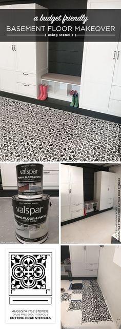 A Basement Floor Makeover Using A Tile Stencil - Stencil Stories Cutting Edge Stencils shares how to stencil a cement basement floor using the Augusta Tile Stencil. Basement Laundry, Basement Flooring, Diy Flooring, Flooring Options, Bathroom Flooring, Flooring Ideas, Laundry Rooms, Basement Kitchen, Kitchen Tiles