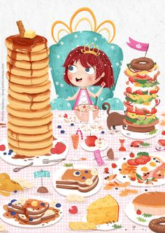 Royal breakfast  Which one do you prefer, sweet or savoury? #illustration #kidlitart #food