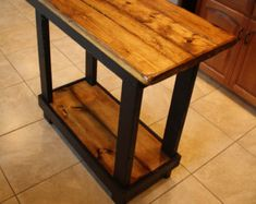 Unique Primtiques Multi Functional Tall Burnt Golden Oak Stained Black Table Kitchen Island Plant Craft Bench Custom Made Sizes Colors Avai Oak Stain, Dark Walnut Stain, Tall Table, Dining Table, Wood Table, Rustic Kitchen Island, Kitchen Islands, Distressed Kitchen, Plant Crafts
