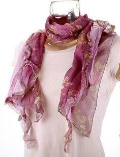 Fular rosado y florido 170 x 55 cm A069