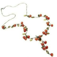 New Red Agate Cherry Necklace
