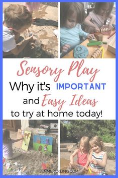 - Sensory Play Ideas…and Why it's so Important! Don't miss these simple SENSORY PLAY ideas! Encourage play and hands-on learning–so important for child development! Sensory Bins, Sensory Activities, Sensory Play, Educational Activities, Learning Activities, Preschool Activities, Toddler Preschool, Hands On Learning, Kids Learning