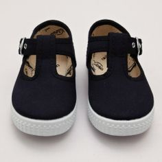 Victoria Plimsoll with T-bar Side Buckle – Navy
