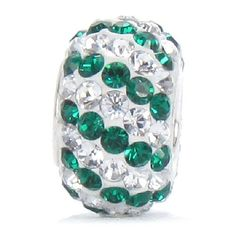 Bella Fascini Green & White SWAROVSKI Crystal Pave Bead - Silver Charm - Fits Pandora & All Compatible Brands