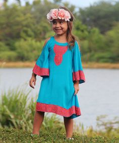 Love this Mia Belle Baby Coral & Turquoise Cutout Dress - Toddler & Girls by Mia Belle Baby on #zulily! #zulilyfinds
