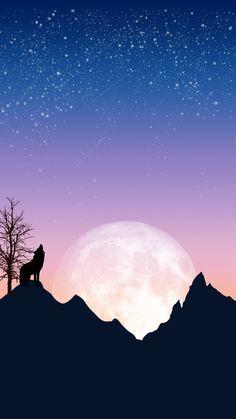 Night Sky Wallpaper, Pastel Wallpaper, Scenery Wallpaper, Galaxy Wallpaper, Locked Wallpaper, Screen Wallpaper, Wolf Silhouette, Beautiful Wolves, Sky Art