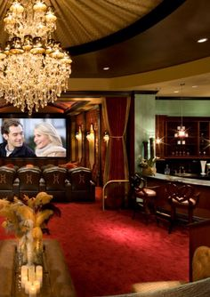 Home Movie Theatre for the modern Chateau.  Um, hello silk ceiling!  I die over gorgeous silk ceilings  <>