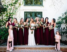 Bridesmaid Dresses Burgundy Villa Wedding in San Juan Capistrano - Bridal party by Coralie Beatrix - The love between this couple and their family Burgundy And Blush Wedding, Maroon Wedding, Burgundy Bridesmaid Dresses, Bridesmaids And Groomsmen, Wedding Bridesmaid Dresses, Flower Girl Dresses Burgundy, Burgendy Wedding, Bridal Party Dresses, Wedding Band