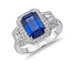 Blue Nile Emerald Cut Sapphire and Diamond Three-Stone Ring in 18k White  Gold #jewelry #fashion