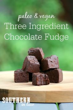 Healthy Chocolate Fudge?! Yep! This Refined Sugar Free Chocolate Fudge Recipe has just THREE ingredients and is paleo, gluten free, grain free, dairy free, vegan, nut free and a clean eating recipe. Perfect for Valentine's Day or a Healthy Homemade Food Gift Idea!