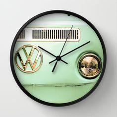 Summer of Love Wall Clock by Olivia Joy StClaire - $30.00 clock, wall clock, art, VW, volkswagen, camper van, retro, vintage, cute, mint green, aqua, auto, home decor, home accessory, art, photography, home decorating, interior design