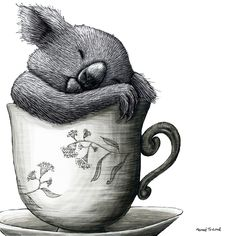 Renee Treml – Tea Cozy. Koala 2 – limited edition fine art print of original scratchboard illustration by Renee Treml.  Printed locally on environmentally-sustainable fine art paper. • Available at thebigdesignmarket.com