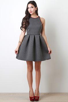 Pleated A-Line Sleeveless Dress