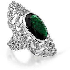 Bling Jewelry Simulated Emerald CZ Armor Ring Deco Style Rhodium... ❤ liked on Polyvore featuring jewelry, rings, fake jewelry, rhodium plated ring, cubic zirconia jewelry, art deco cz rings and emerald jewelry