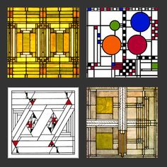 Frank Lloyd Wright Designs for Glass Sandstone Coasters Gift Set 1