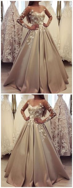 generous long sleeve ball gown champagne prom dresses, luxury lace wedding dress