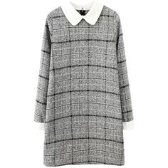 Blackfive Peter Pan Collar Long Sleeves Woolen Plaid Dress (9.760 HUF) ❤ liked on Polyvore featuring dresses, vestidos, short dresses, grey, short grey dress, plaid dress, mini dress y peter pan collar dress