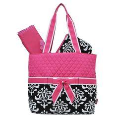 Pink Damask Print NGIL Quilted 3pc set Diaper Bag #NGIL