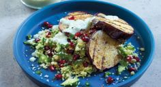 Grilled Eggplant with Couscous and Yoghurt Dressing - Tender grilled eggplant is served with delicious with herbs and olive oil with a yoghurt dressing.  - http://aussietaste.recipes/meatless-monday/grilled-eggplant-with-couscous-and-yoghurt-dressing/