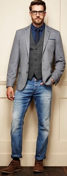 Matalan sports coat and jeans, sports jacket, mens attire, mens suits, casu Sports Coat And Jeans, Sports Jacket, Casual Jeans, Men Casual, Smart Casual Menswear, Mens Attire, Mens Suits, Mens Fashion Blazer, Look Street Style