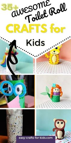 Best easy toilet paper roll crafts for kids! Over 35 ideas to help you make animals, pencil holders, gifts and decor. Pink Crafts, Crafts For Girls, Easy Crafts For Kids, Arts And Crafts, Toilet Roll Craft, Toilet Paper Roll Crafts, Kindergarten, Epic Kids, Pencil Holders