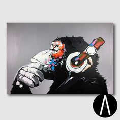Modern Single Panel Gorilla Hand-painted Wall Canvas Art for Kids Room, adding contemporary flair, plus personality to your child's walls.