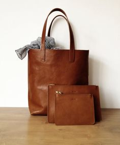 Brown leather shopper tote made from best quality long by MISOUI More