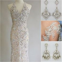 Bold Crystal Bridal Chandelier Earrings add the finishing touch of glamour to an ornate wedding gown. Gown found on pinterest, bridal earrings designed by Erin Cole available at perfectdetails.com