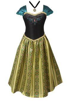 American Vogue ADULT WOMEN FROZEN ANNA Elsa Coronation Costume (XS-S, Green & Necklace $31.99