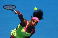 MELBOURNE, AUSTRALIA - JANUARY 28: Serena Williams of the United States serves in her quarterfinal match against Dominika Cibulkova of Slovakia during day 10 of the 2015 Australian Open at Melbourne Park on January 28, 2015 in Melbourne, Australia. (Photo by Clive Brunskill/Getty Images)