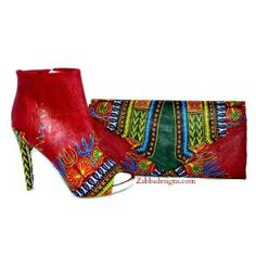 Dashiki African Print Bootie Shoes And Bag Set , Nigerian  Purse And Shoes Set from Zabba Designs African Clothing Store