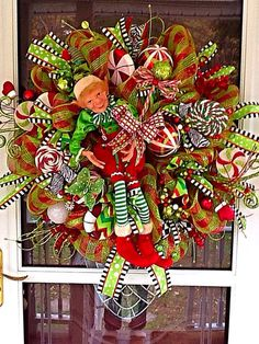 XL Elf Christmas Wreath Elf Wreath by WreathsEtc on Etsy