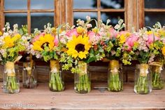 Sunflower bouquets photography wedding flowers country