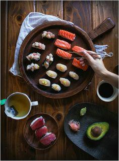 Homemade Sushi Nigiri and Gunkanmaki Style