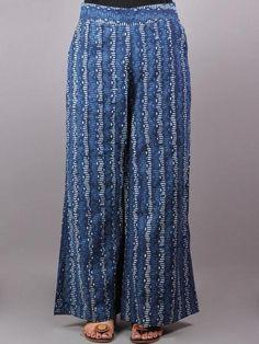 Indigo Hand Block Printed Elasticated Waist Pleated Cotton Palazzo - P1117082