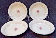 Fine China of Japan Royal Swirl Berry Fruit Bowls 5 Set of 4 Excellent Fruit Bowls, Dessert Bowls, Tea Cup Saucer, Tea Cups, Vintage Dinnerware, Salad Plates, Fine China, Dinner Plates, Berry