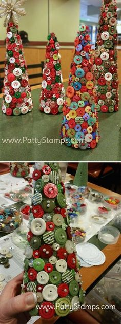 Have you ever asked yourself what to do with all these old buttons you have in your drawer? And wondered how you can recycle them into pretty useful things? Here are 20 creative crafts in which you can recycle your old. Christmas Art, Christmas Projects, All Things Christmas, Holiday Crafts, Christmas Ornaments, Christmas Button Crafts, Button Ornaments, Halloween Crafts, Diy Ornaments