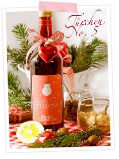 Türchen 5 im cozy & cuddly Adventskalender; Rezept für hausgemachten Glühwein zum Verschenken oder Behalten mit Etiketten zum Ausdrucken