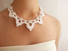White pearl necklace Wedding lace necklace by DIDIcrochet