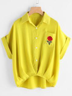 Cuffed Rose Besticktes Dip Hem Hemd mit Brusttasche- German SheIn(Sheinside)