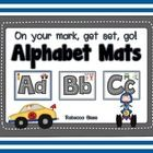 """Teach letter identification and formation using these race car mats.  Students can """"drive"""" toy cars and trucks along the letters which are dotted t..."""