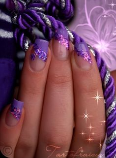 Simple Purple nail art designs Lavender nails - how unique. Fabulous Nails, Gorgeous Nails, Pretty Nails, Nail Designs Pictures, Cute Nail Designs, Purple Nails, Purple Glitter, Glitter Nails, Nail Arts