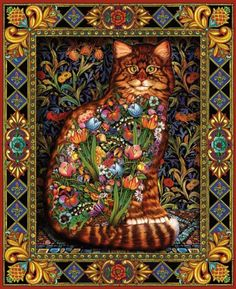 """White Mountain Puzzles Tapestry Cat - Tapestry Cat: 1000 pieces. Size: 24"""" x 30"""". Artist: Lewis T. Johnson. WARNING: CHOKING HAZARD-Small parts. Not for children under 3 years. Made in USA. Product Features  It is a Mosaic like puzzle Artist Lewis T"""