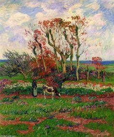 Finestere, automne, huile sur toile de Henri Moret (1856-1913, France)