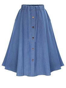 Elastic Waist Denim Flare Skirt With Buttons GBP£9.31