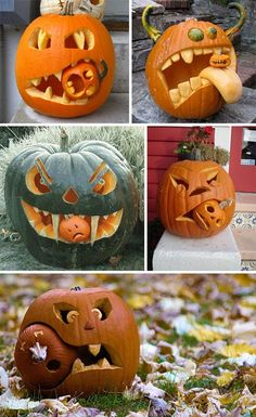 Beautiful Jack-o-Lanterns And Halloween Centerpieces These are the most hysterical cannibal jack-o-lanterns Ive ever seen! The post Beautiful Jack-o-Lanterns And Halloween Centerpieces appeared first on Halloween Pumpkins. Casa Halloween, Halloween Tags, Outdoor Halloween, Holidays Halloween, Halloween Pumpkins, Halloween Crafts, Funny Pumpkins, Halloween Costumes, Halloween Foods